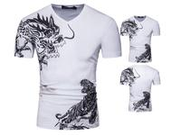 T Shirt Man S Cotton Funny Chinese Vintage Dragon Tiger Short Sleeve 2017 Summer Style Slim