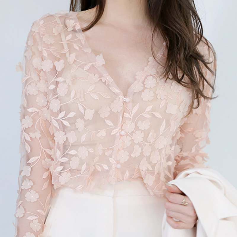 3D Flowers Petal Chiffon Shirts Perspective Mesh Blouse OL V Neck long sleeved Floral Hook Hollow Short Cardigan lace tops