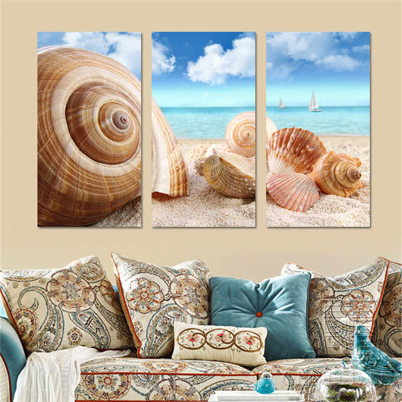Shells on Beach Landscape Canvas Painting Art Oil Picture Posters and Prints Wall Canvas Art Modular Painting NO Frame 3 Pieces