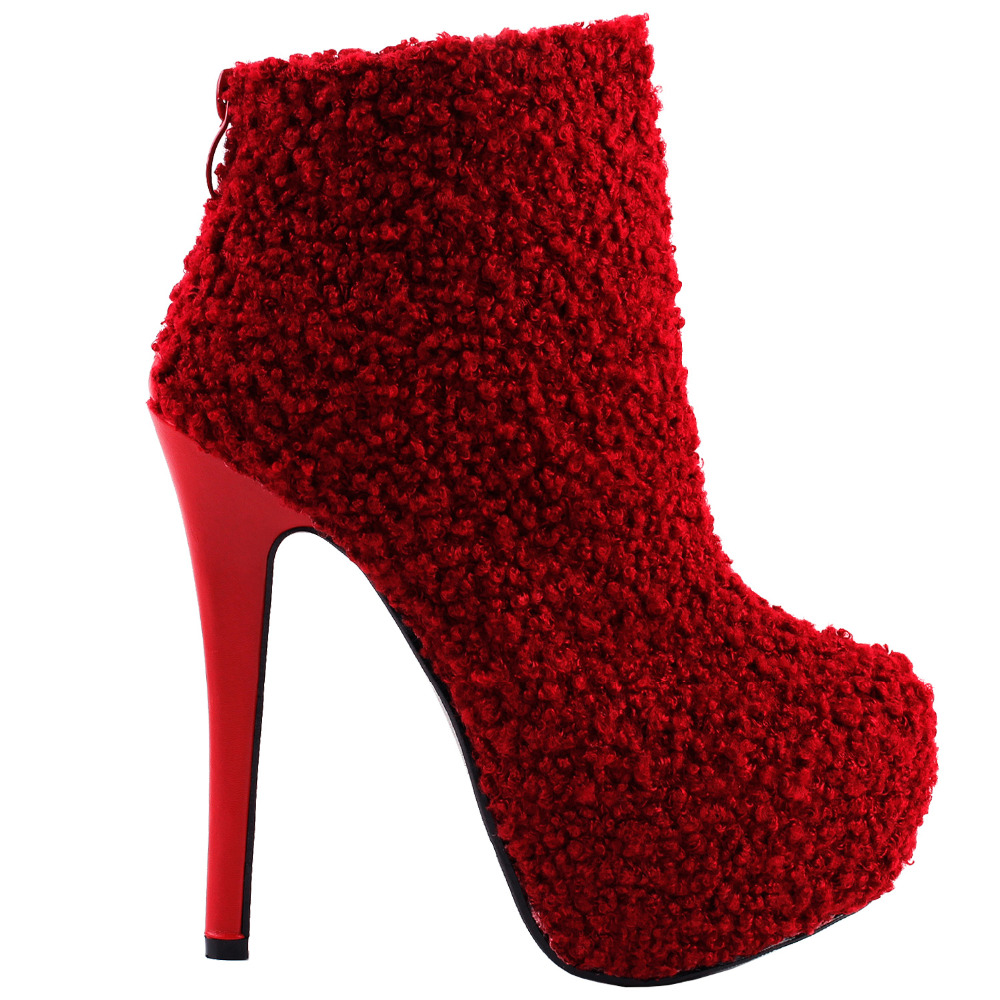 LF80856 Sexy Red Round Toe Punk Stylish Hidden Club PartyPlatform Stiletto Ankle Boots mld lf 1127 ankle supports