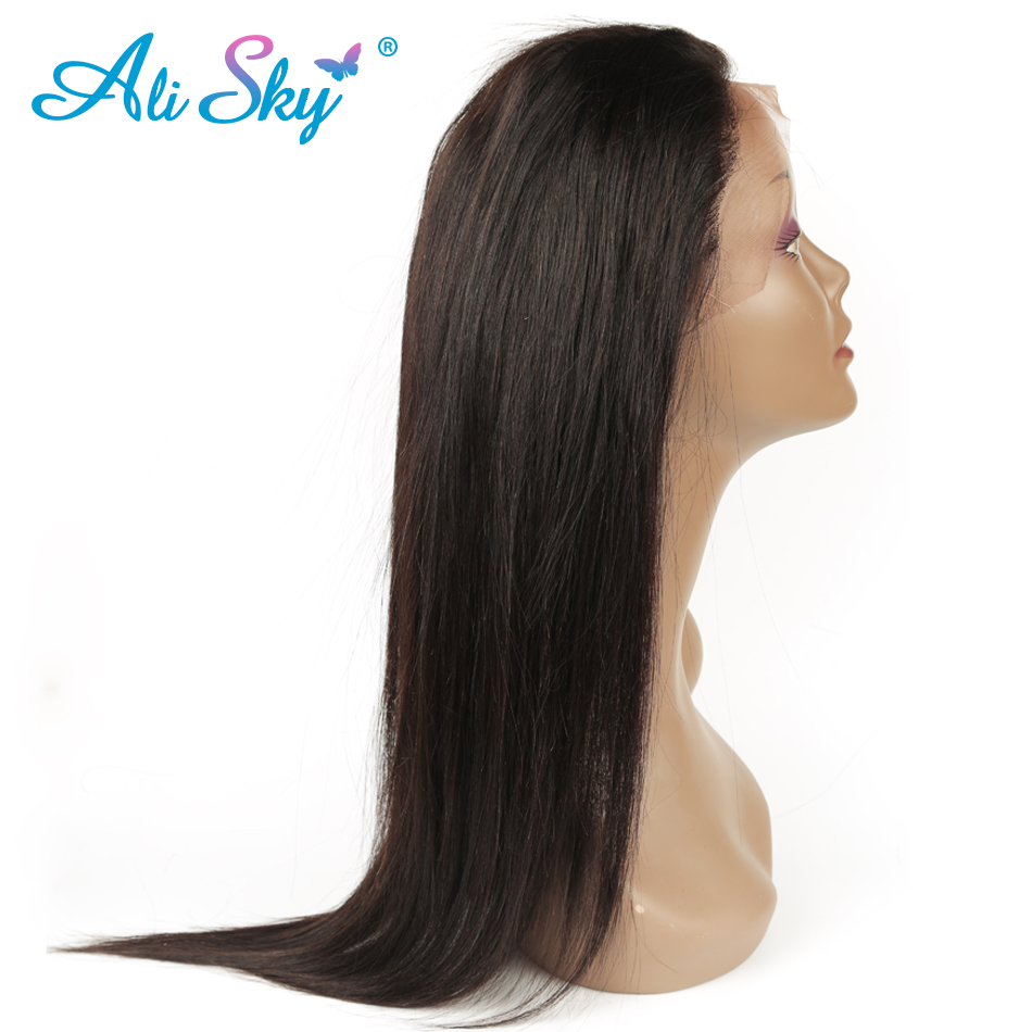 Alisky Hair Pre Plucked 360 Lace Frontal Closure With Baby Hair Peruvian Straight Natural Hairline Remy Hair Frontal