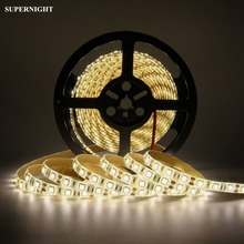 Warm White LED Strip Lights 5M SMD 5050 60LEDs/m DC 12V Waterproof IP65 Home Decoration Lighting Flexible Light Strip Lamp Band sencart ip65 waterproof 1 2w 12lm 592nm orange 3014 smd led car decoration soft light strip dc 12v