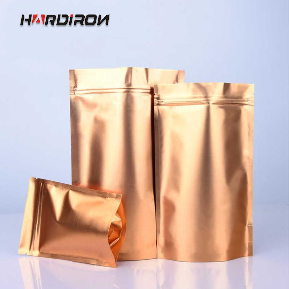 HARDIRON Golden Gold Color Stand Up Aluminum Foil Bag Zip lock Bag Food Tea Coffee Packaging Bags pouches