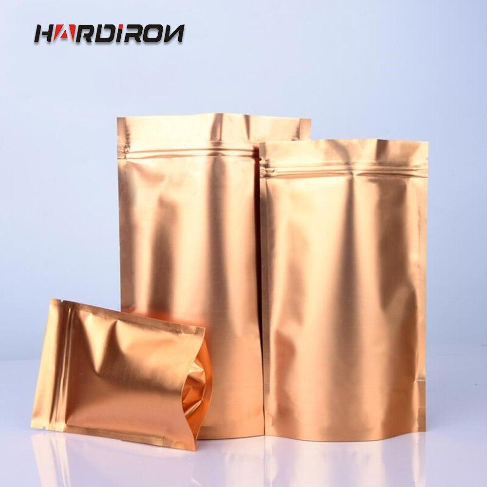 Hardiron cor dourada do ouro levanta-se o saco da folha de alumínio fecho de correr saco do fechamento do chá do alimento sacos de empacotamento do café