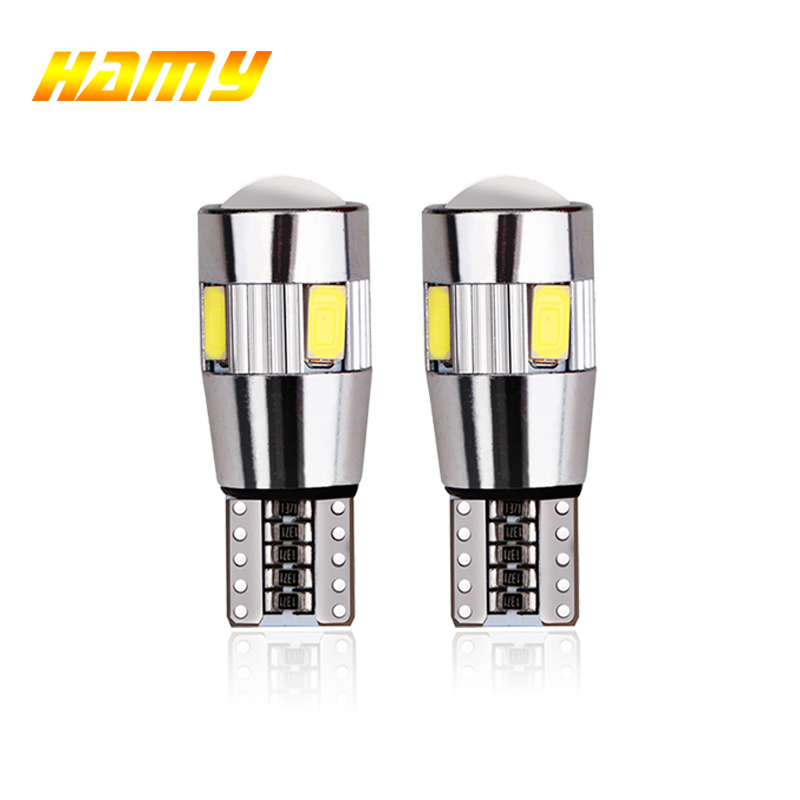 2x T10 W5W Car <font><b>LED</b></font> Turn Signal Bulb <font><b>Canbus</b></font> Auto Interior Dome Reading Light Wedge Side Parking Reverse Brake Lamp <font><b>5W5</b></font> 5630 6smd image