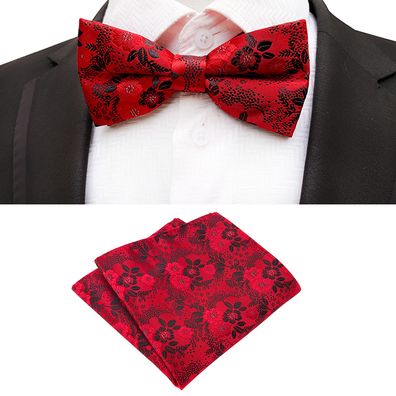 2019 Sale Formal Commercial Wedding Butterfly Cravat Bowtie Red Male Marriage Bow Ties Pocket Square Handkerchief Set For Men