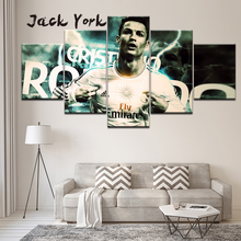 Canvas Painting CR7 Superstar Cristiano Ronaldo 5 Pieces Wall Art Modular Wallpapers Poster Print Home Decor