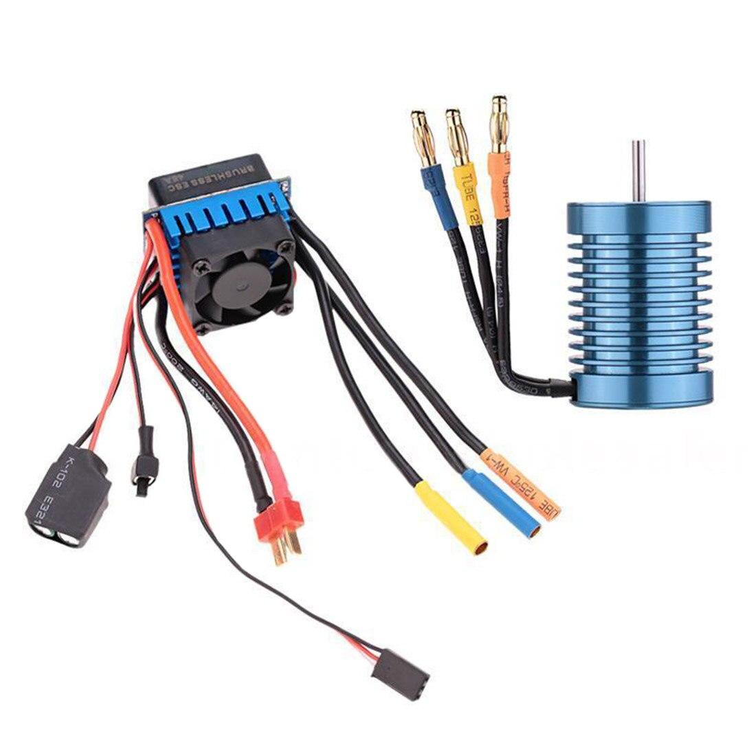 3650 4370kv 4p Sensorless Motor With 45a Brushless Esc For 1 10 Rc Wiring Car
