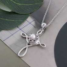 Partnerbeads Silver Color Rhinestone pearl Cross Pendant Necklace 12mm Snap button Chain For Women And Girl Free Shipping