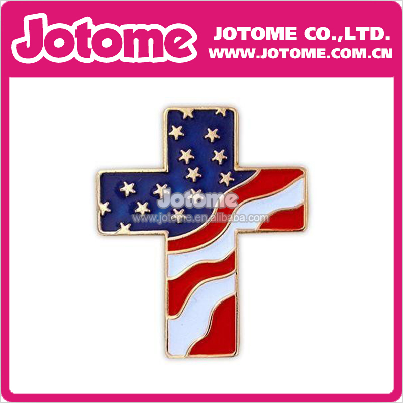 100pcs/lot Patriotic Cross of America Flag Enamel Brooch for Gift patriotic cover up american flag wrap dress