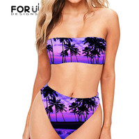 FORUDESGINS Palm Tree Printed Swimsuit Women Push Up Two Piece Suit Large Size Swimwear Female Swimming Suit for Women Beachwear