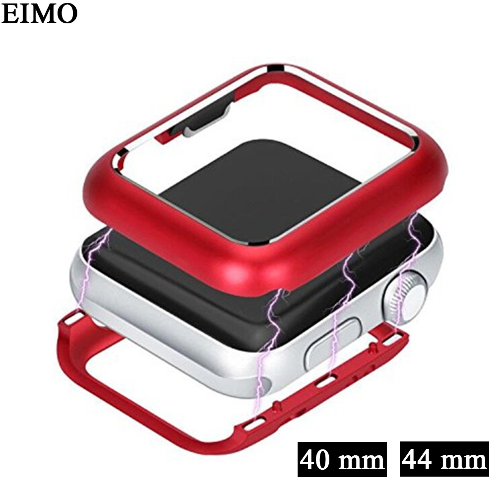 EIMO metal case cover For Apple Watch series 4 44mm/40mm iwatch 3 2 1 42mm/38mm magnetic adsorption protective frame shell case cover for apple watch 4 44mm 40mm iwatch strap 3 2 42mm 38mm aluminum alloy frame diamond protective shell accessories