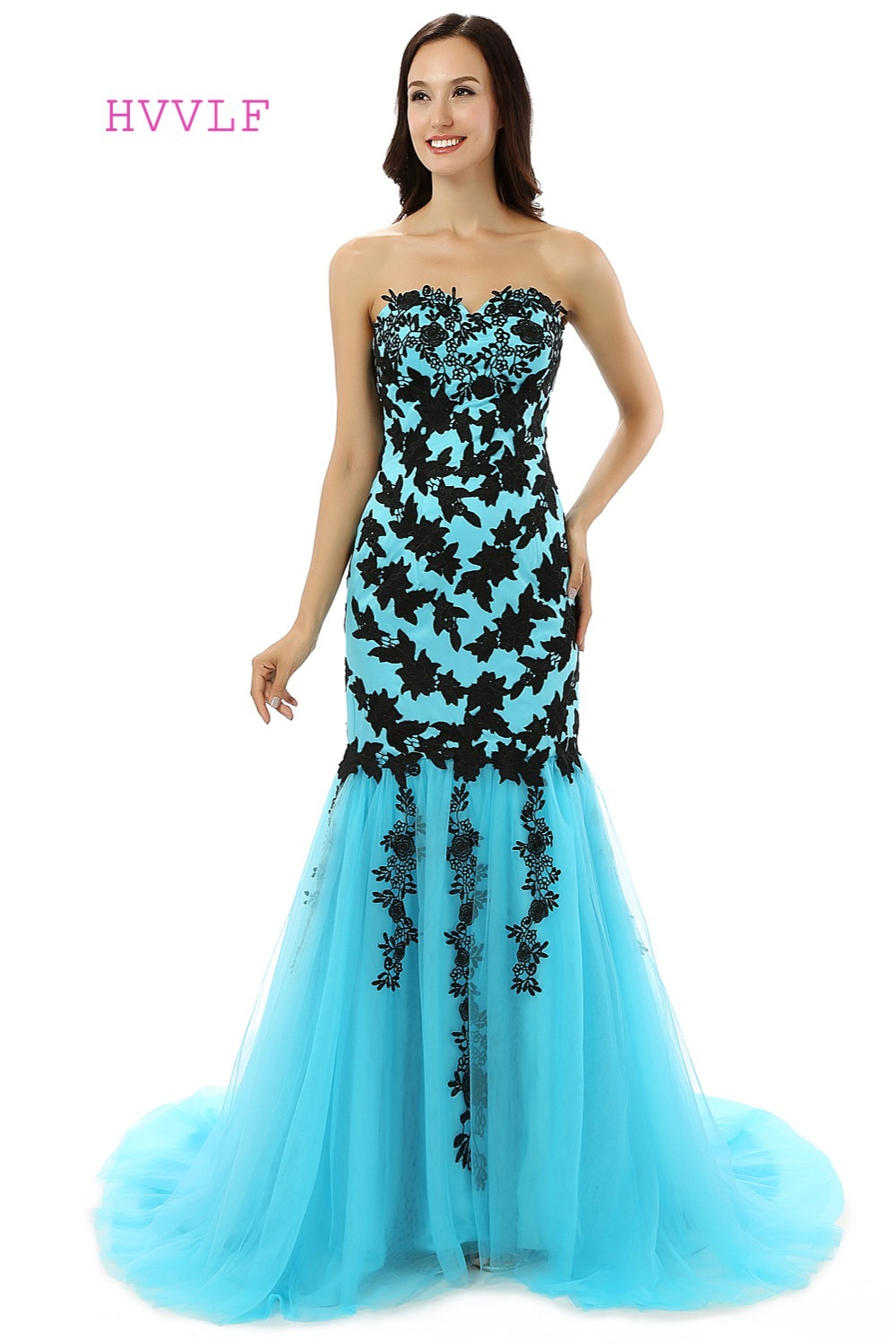 Turquoise Evening Dresses 2018 Mermaid Sweetheart Tulel Appliques ...