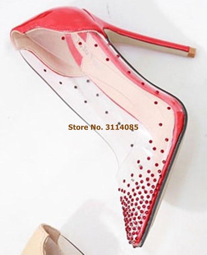 Женские Элегантные шикарные свадебные туфли с украшением в виде кристаллов открытые белые модельные туфли лодочки в стиле пэчворк прозрачные туфли для торжеств из ПВХ блестящие туфли лодочки - 6