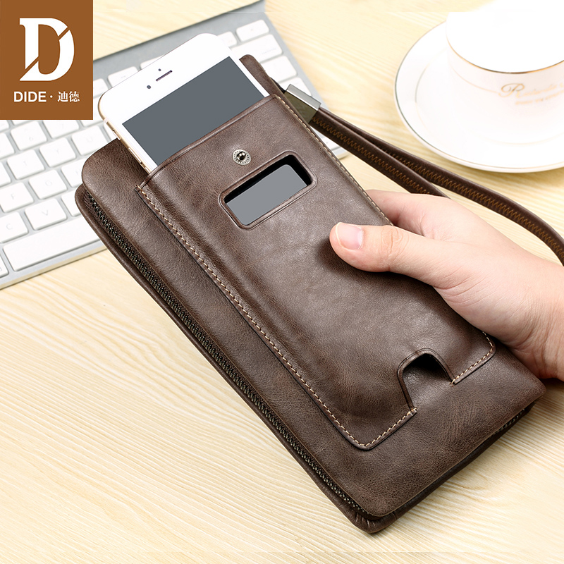 DIDE Casual business Genuine Leather Men Wallets Zipper Organizer Clutch Wallets Male Purses Long Phone Wallet Men's Bags 632 business men wallets new 2016 solid pu leather long wallet portable cash purses casual wallets male clutch bag