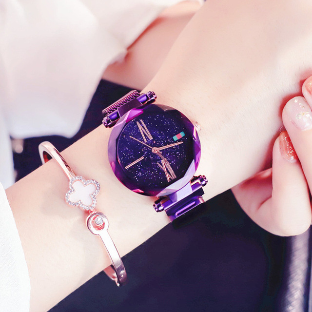 Charming Purple Women Watches Minimalism Casual Starry Sky Lady Wristwatch Magne