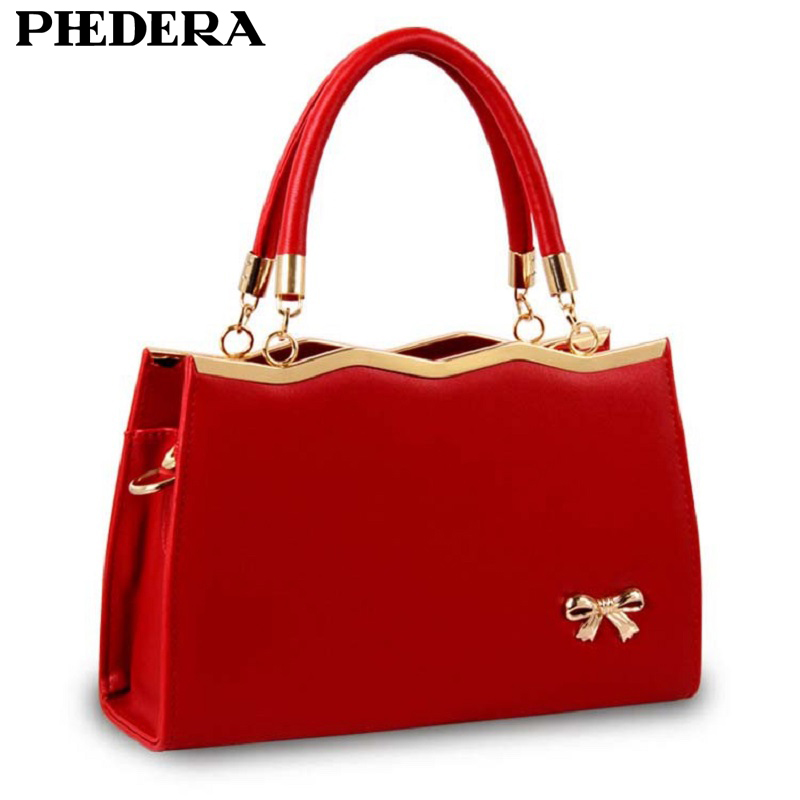 Us 18 64 44 Off Spring Fashion Bowknot Women Pu Leather Handbag Totes Korean Style Hand Bag Female Bags Designer Red Las Purse In Top Handle
