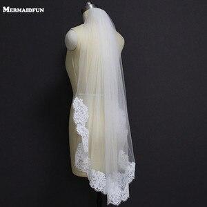 Image 1 - Echte Foto S Elegant Gedeeltelijke Lace Zijde Korte Wedding Veil Een Layer Wit Ivoor Bridal Veil met Kam Veu de Noiva