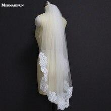 Parcial Real Fotos Elegante Borda Do Laço Véu De Noiva Curto Uma Camada Branco Marfim Véu Nupcial com Pente Véu de Noiva