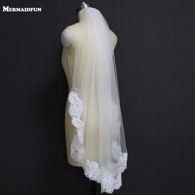 Real Photos Elegant Partial Lace Edge Short Wedding Veil One Layer White Ivory Bridal Veil with Comb Veu de Noiva