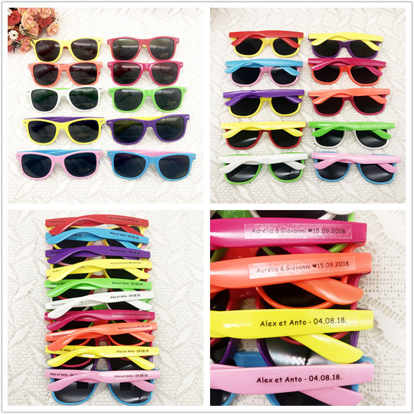 60 Pairs/lot Customized Party Sunglasses Wedding Giveaways for Guests Personalised Anniversary Gifts Mix color Party Sunglasses image