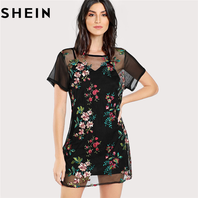 fa3df0eb019b7b SHEIN Sexy Floral Embroidery Black Mini Mesh Dress Without Cami 2018 Summer  Womens Short Sleeve Sheer