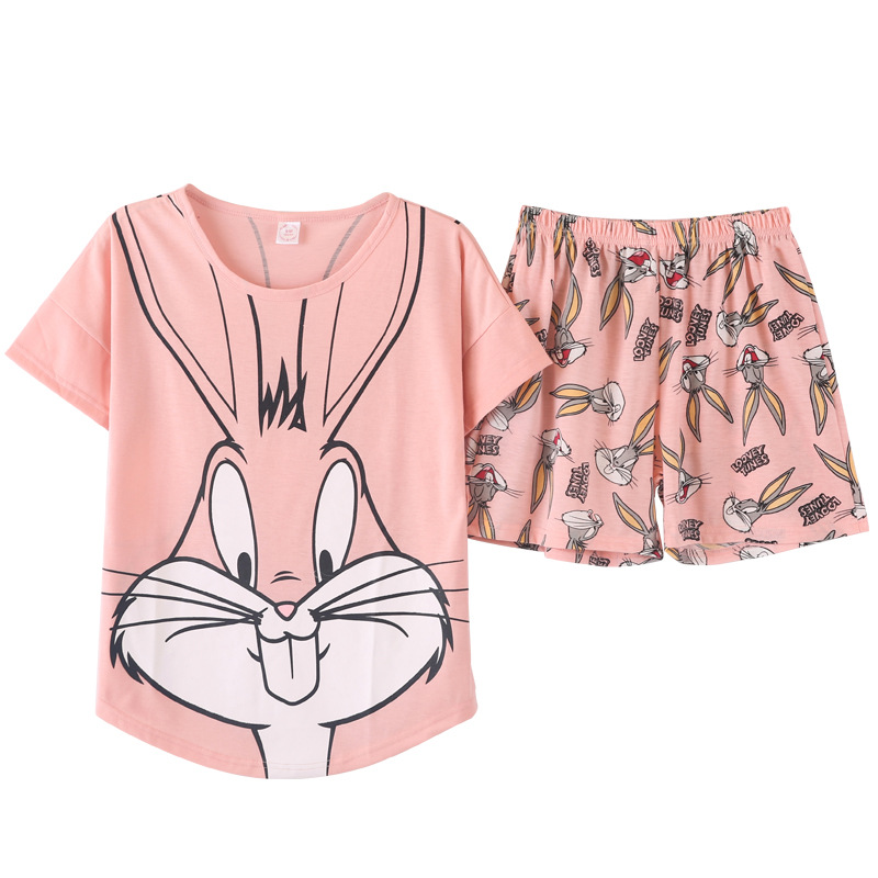 Cute Pajama Set Pink Bugs Bunny Cotton Cartoon Summer Short Pyjamas Women Cotton Printing Womens Clothings
