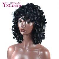 Perruque Afro cheveux synthétiques fibre résistante à la chaleur naturel noir courtes perruques de cheveux bouclés pour les femmes noires