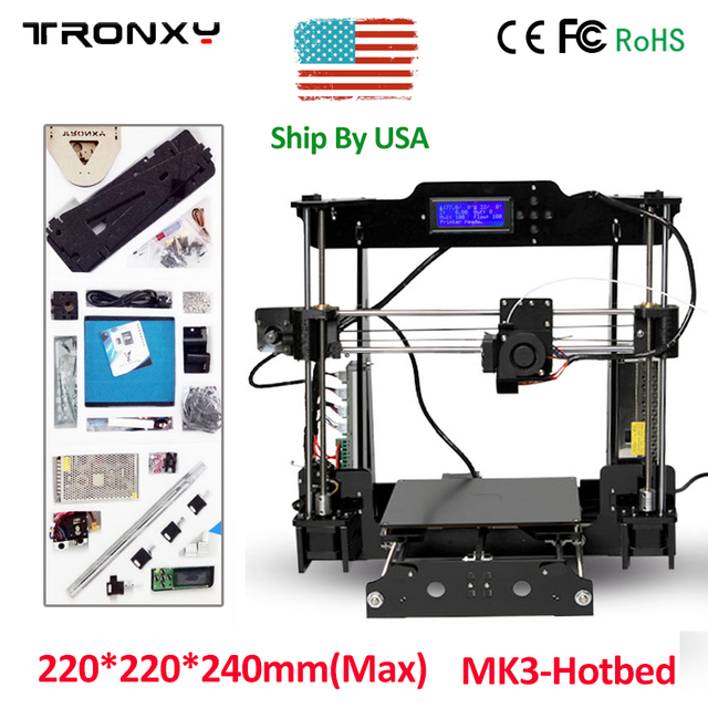Acrylic fram 3D Printer Auto Leveling Kit High Precision Reprap DIY 3D Printing Machine +Hotbed +Filament +SD Card +LCD