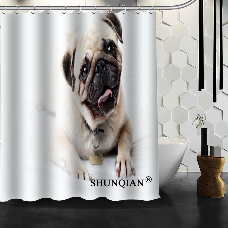 Hot Sale Waterproof Bathroom Curtains New arrival pug Shower Curtain polyester Bath screens Customized curtain