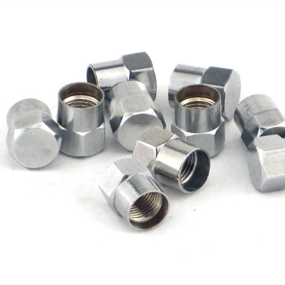 50pc Chrome Brass Slotted Head Valve Stem Caps