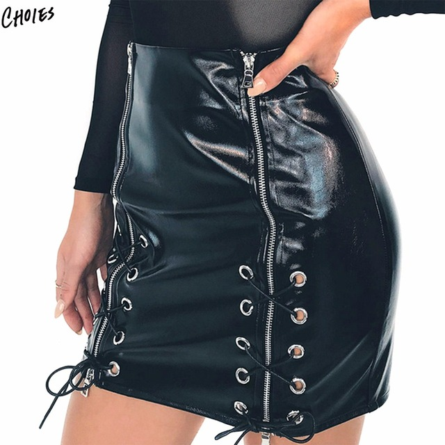 9d4ce2754930 Black High Waist Eyelet Lace Up Front Leather Look Pencil Mini Skirt Faux  Leather Sexy Bodycon Skirts 2017 Women Skirt Shorts
