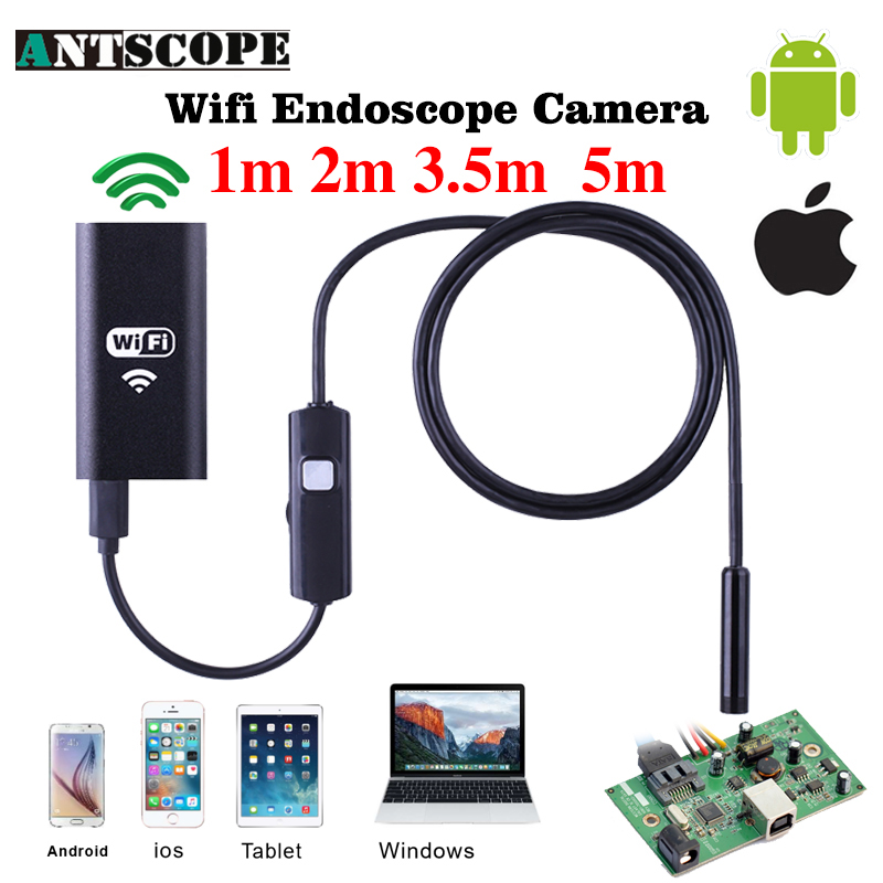 Antscope Iphone Endoscope HD 1m 2m 3.5m 5m Wifi Endoscope 720P Borescope Waterproof Camera Endoscopio Android iOS Wifi Endoskop 8mm 1m 2m 3 5m wifi ios endoscope camera borescope ip67 waterproof inspection for iphone endoscope android pc hd ip camera