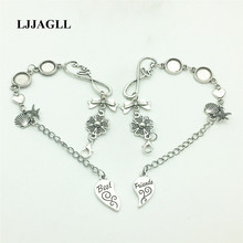 цены LJJAGLL 1 set(2pcs) 20cm Alloy Antique Silver Chain Bracelet Best Friend Set Charm Lover Set Pendant Heart Charm Fit WomenASL007