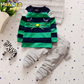 Menoea 2017 Outono Nova Marca 1-3 Anos de Bebê Meninos Conjunto de Roupas dos desenhos animados Manga Comprida T-shirt + Calças 2 Peças de Roupas Terno de Algodão