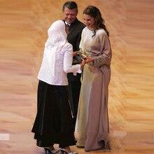 Silver Muslim Long Evening Dress Beaded Sash Arabic Full Sleeve Women Dresses Islamic Abaya Dubai Kaftan Celebrity Dresses