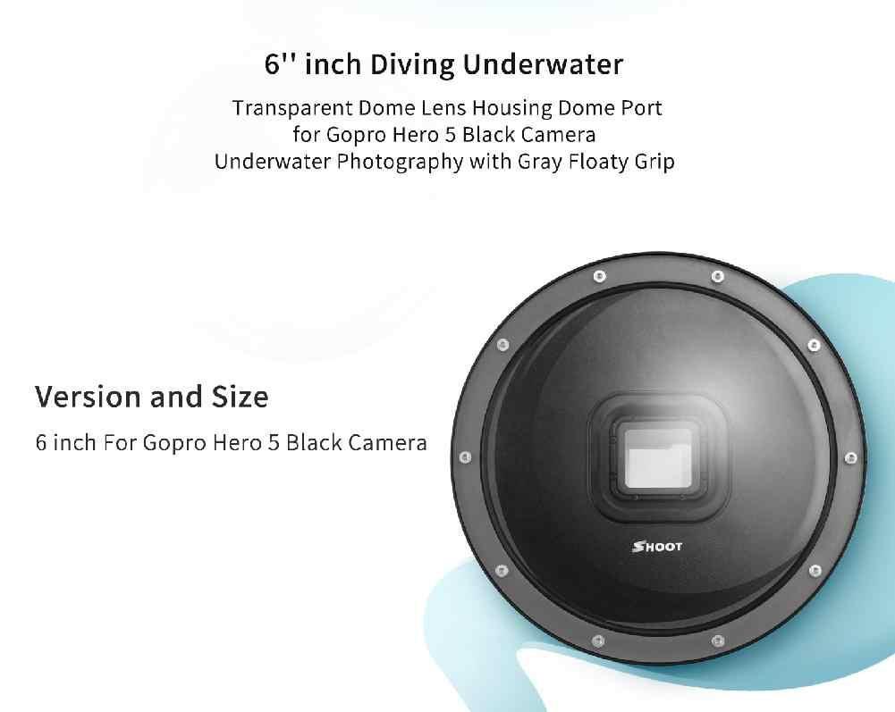 Kuulee 6 Inch Menyelam Dome Port untuk GoPro Kamera Go Pro 7 6 5 Hitam Sports Cam dengan Kasus Tahan Air dome untuk GoPro 7 6 5