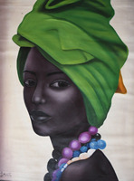 Hand PAINTED African Woman Tribal Portrait Green Realistic Large Painting Oil Canvas Wall Art