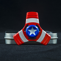 Super Hero US Captain Shield Metal Hand Spinner Finger Gyro Metal Tri Fidget Spinner Stress Toys