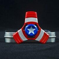 Super Hero US Captain Shield Metal Hand Spinner Finger Gyro Metal Tri Fidget Spinner Stress Toys