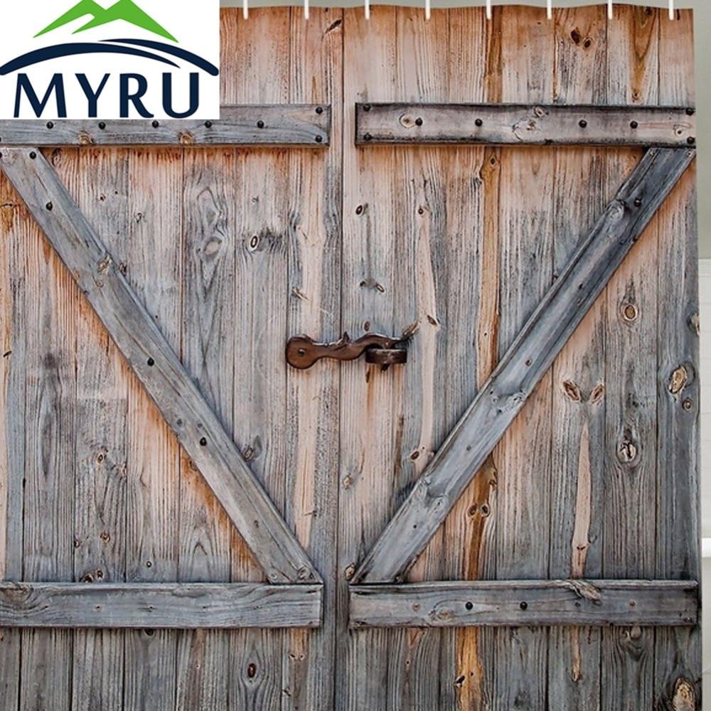 Attractive MYRU American Country Style Ciamlir Old Wooden Garage Door Shower Curtain  Print Vintage Antiqued Look Polyester Shower Curtain.
