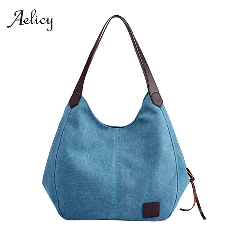 Canvas Handbags Vintage  Female Hobos Single Shoulder Bags Design Handbag Cross Body