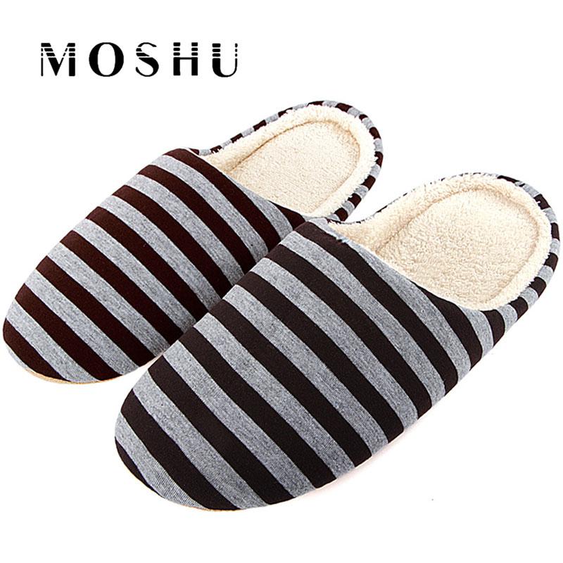 Women Winter Indoor Floor Slippers Cotton Slippers Non-slip Adult Striped Slippers Warm Soft Velvet Couple Shoes For Bedroom цена