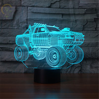 Novelty Gifts 3D Car Led Night Lights 3D LED Desk Table Lamp 7 Color Changing Vehicle 3D lamp For Kids Bedroom