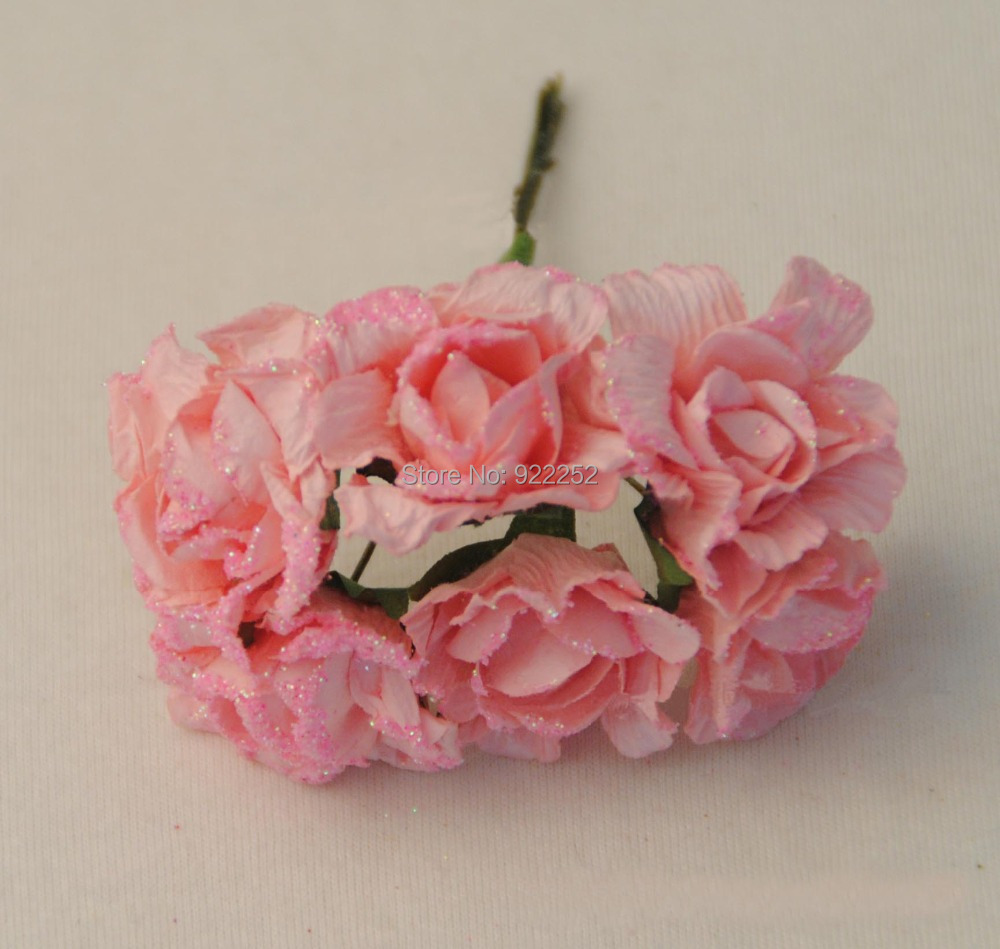 Hand Made Artificial Paper Mini Glitter Roses Bouquetscrapbooking