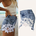 Dancing Poppy 2017 New Fashion Style Women's Sexy  High Waist Tassel Hole Shorts Jeans Denim Lace Short Pants