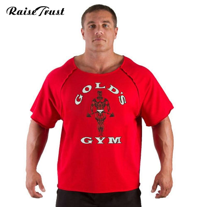 ny sommar bodybuilding och korta män Högkvalitativ muskel undertröja Plus storlek kläder gulds fitness bodybuilding T-shirts