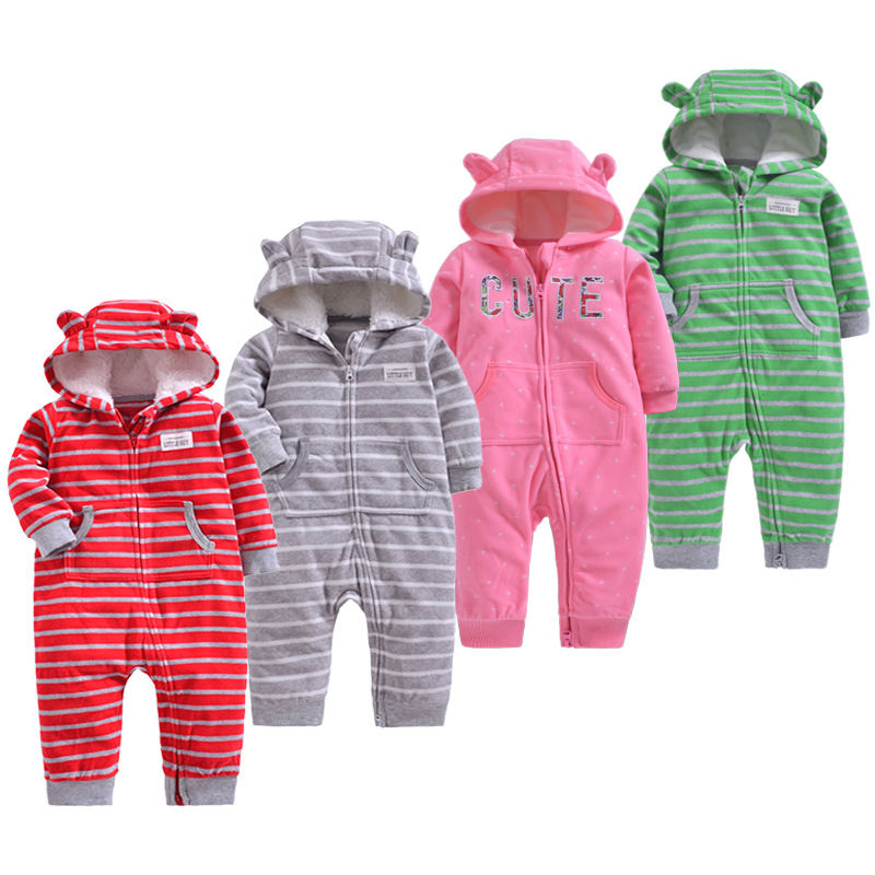 Baby clothing girls winter warm outfits fleece outwear double zipper jumpsuit baby's warm clothes boys romper creeping suit