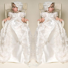 0-2 Years Cheap Custom Made Lovely White and Ivory Lace Baby Clothing Dress With Hat Long Lace Infant Girls Christening Gown