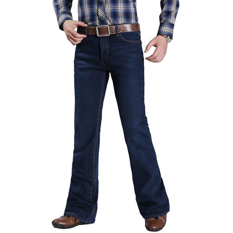 2019 Winter Plus Velvet Jeans Boot-Cut Stretch-Pants Flared Mens Fashion For Leg-Fit Classic Denim Male